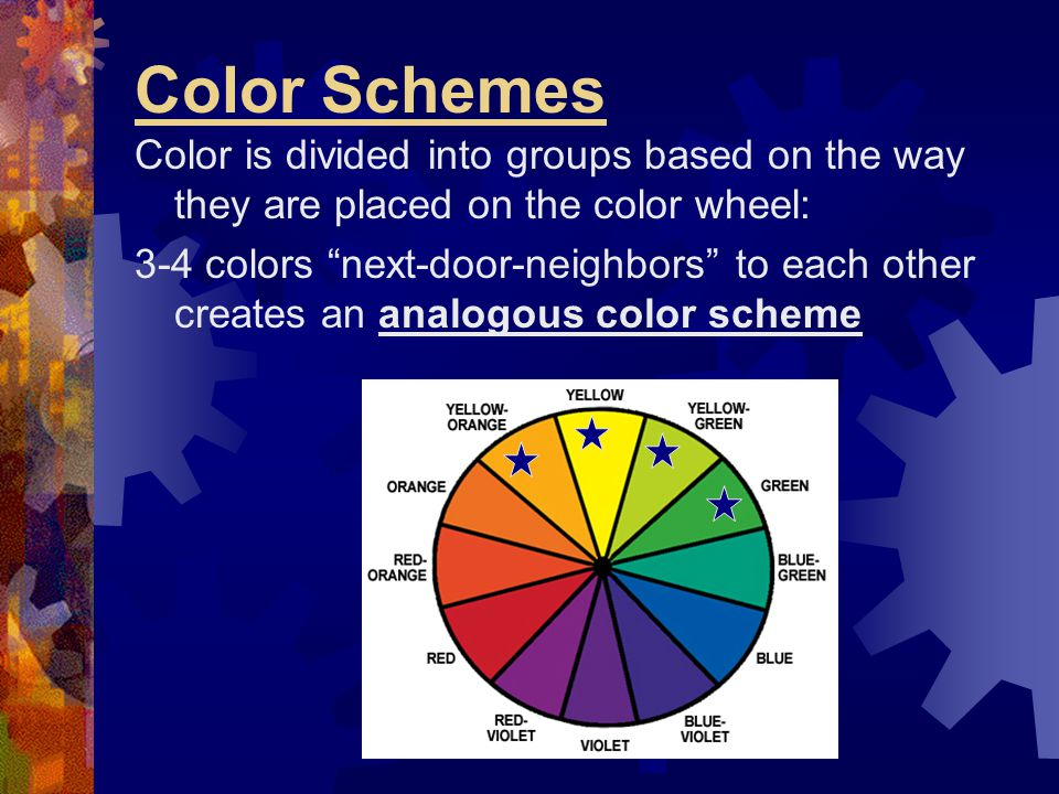Color Schemes Color is divided into groups based on the way they are placed on the color wheel: