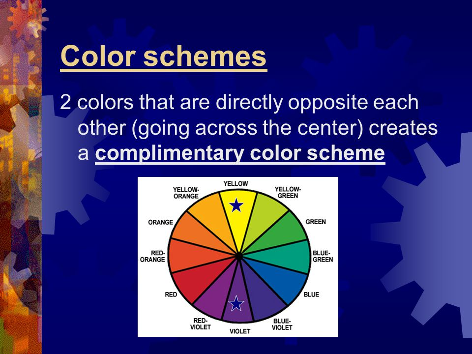 Color schemes 2 colors that are directly opposite each other (going across the center) creates a complimentary color scheme.