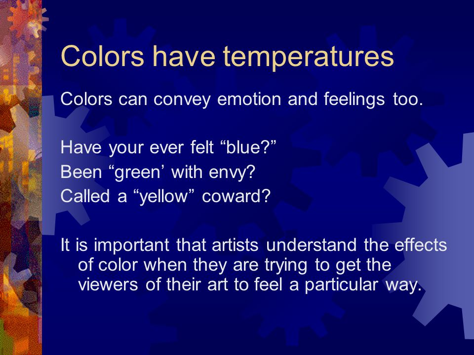 Colors have temperatures
