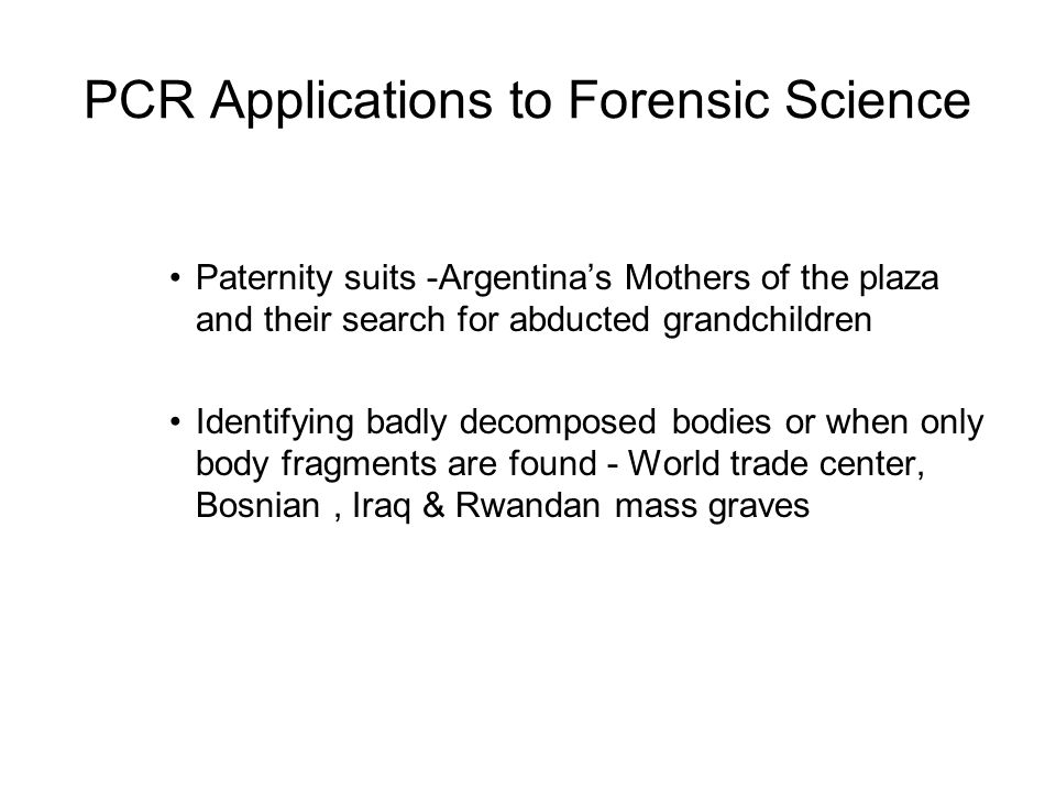 PCR Applications to Forensic Science