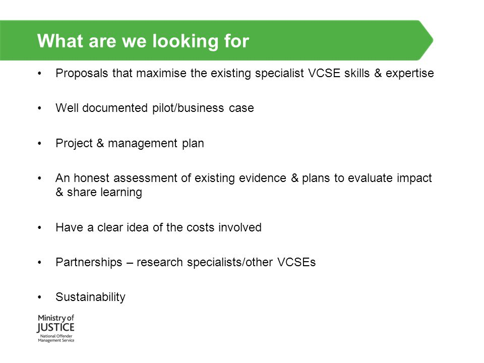 What are we looking for Proposals that maximise the existing specialist VCSE skills & expertise. Well documented pilot/business case.