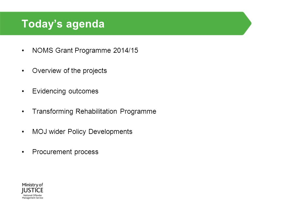 Today's agenda NOMS Grant Programme 2014/15 Overview of the projects