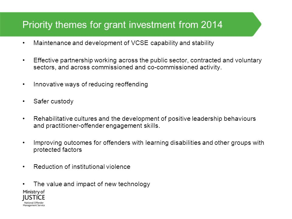 Priority themes for grant investment from 2014