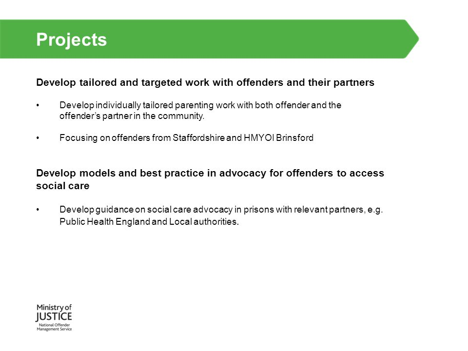 Projects Develop tailored and targeted work with offenders and their partners.