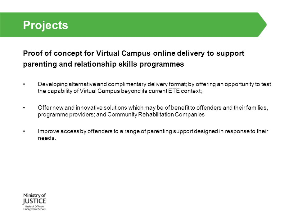 Projects Proof of concept for Virtual Campus online delivery to support. parenting and relationship skills programmes.