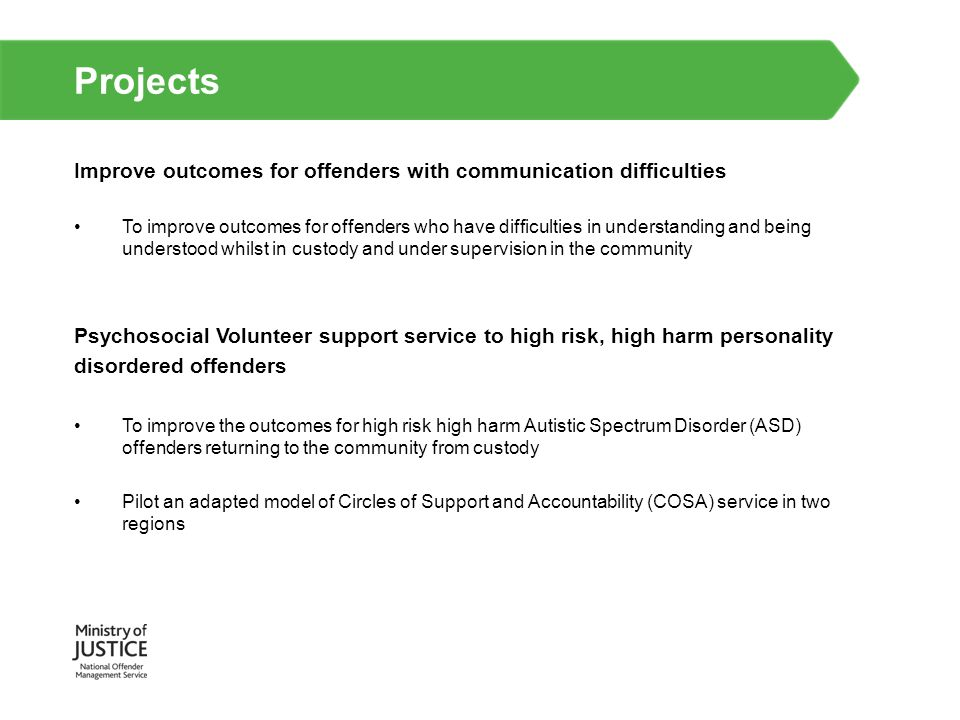 Projects Improve outcomes for offenders with communication difficulties.