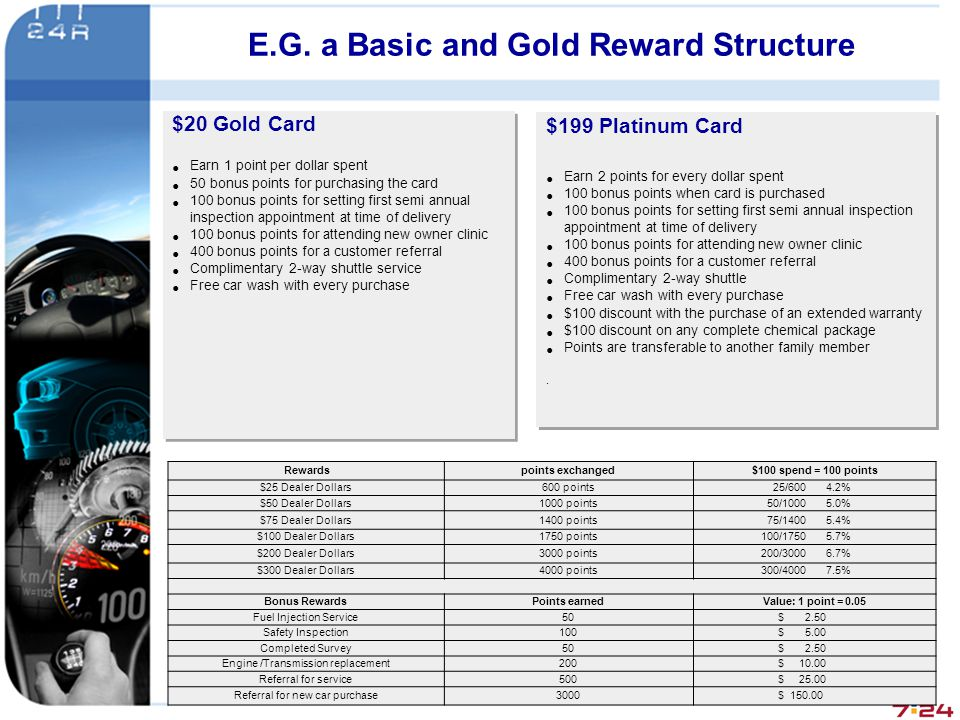 E.G. a Basic and Gold Reward Structure