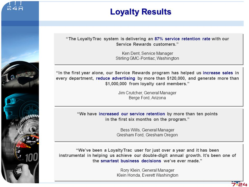 Loyalty Results The LoyaltyTrac system is delivering an 87% service retention rate with our. Service Rewards customers.