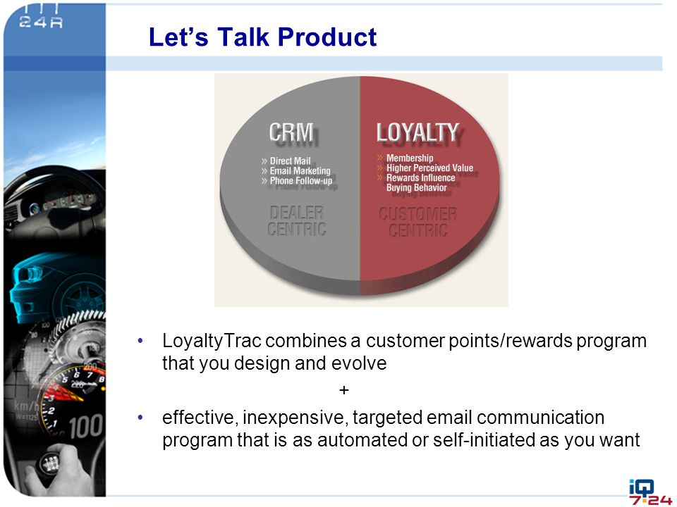 Let's Talk Product LoyaltyTrac combines a customer points/rewards program that you design and evolve.