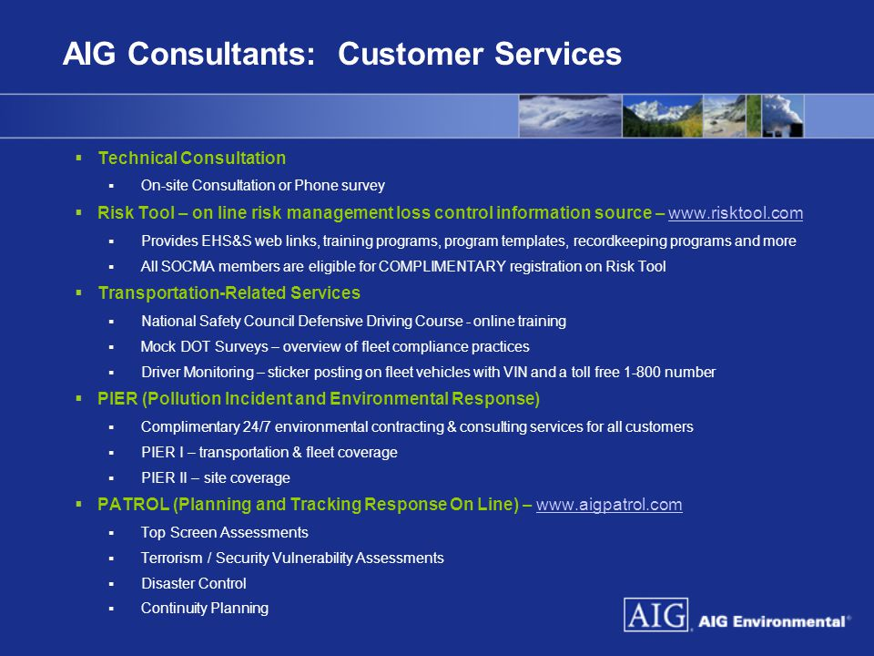 AIG Consultants: Customer Services