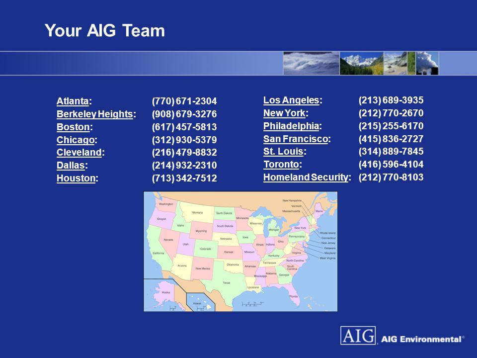 Your AIG Team Atlanta: (770) 671-2304 Los Angeles: (213) 689-3935