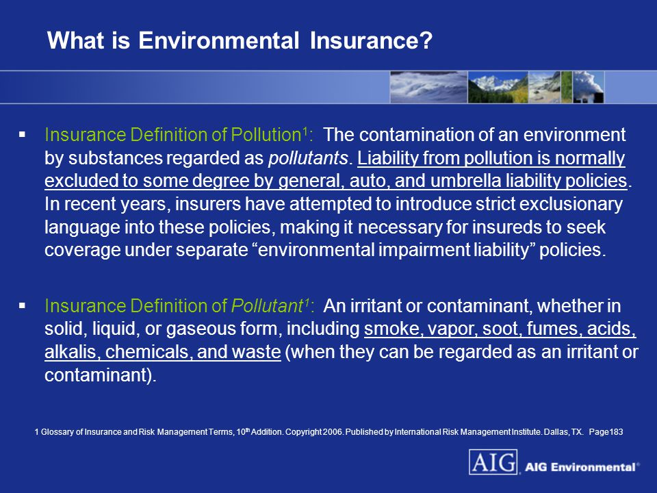 What is Environmental Insurance