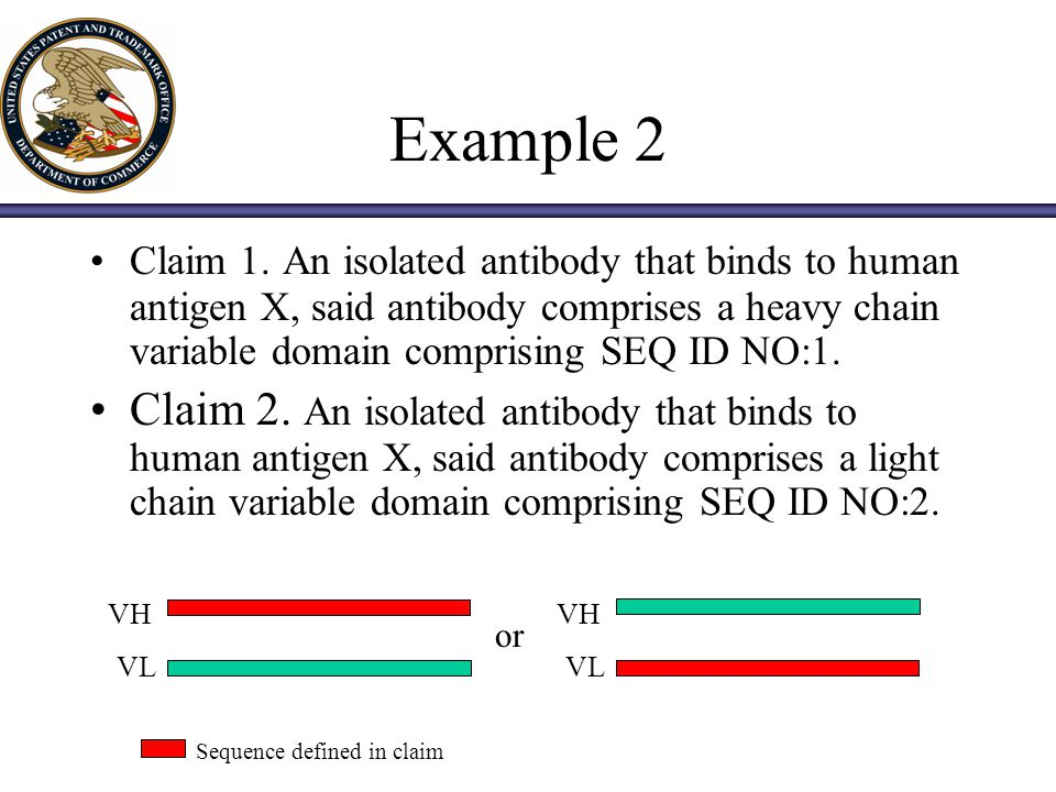 Example 2 Claim 1. An isolated antibody that binds to human antigen X, said antibody comprises a heavy chain variable domain comprising SEQ ID NO:1.