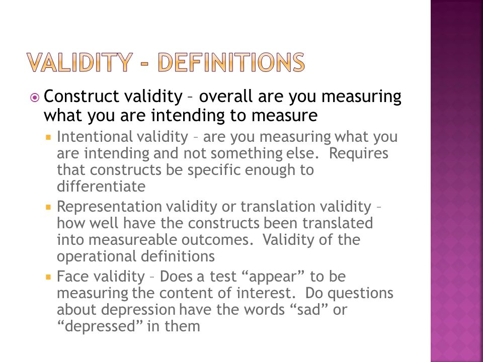 Validity - Definitions