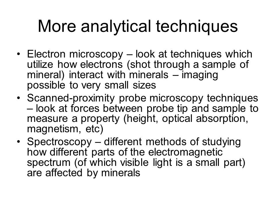 More analytical techniques