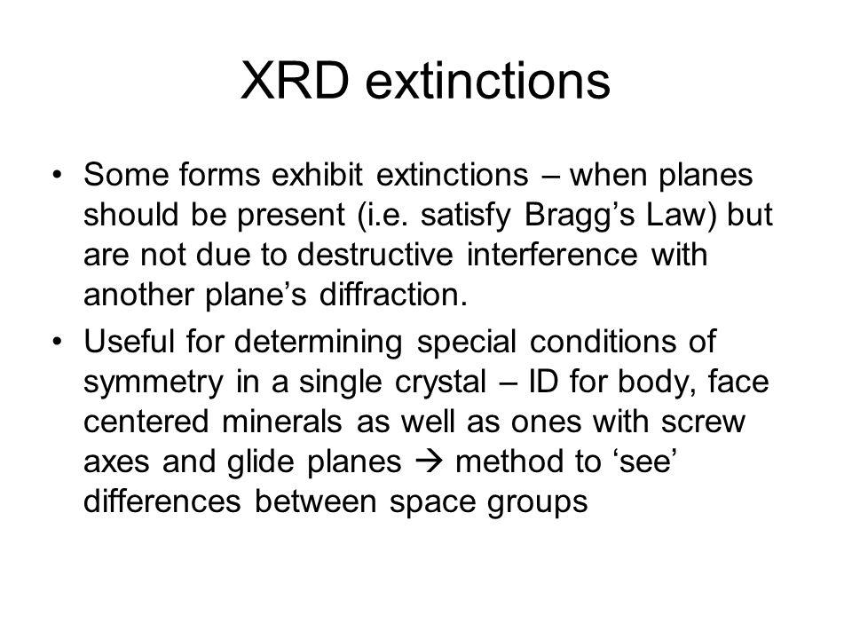 XRD extinctions