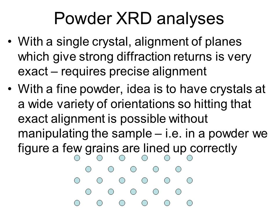 Powder XRD analyses With a single crystal, alignment of planes which give strong diffraction returns is very exact – requires precise alignment.