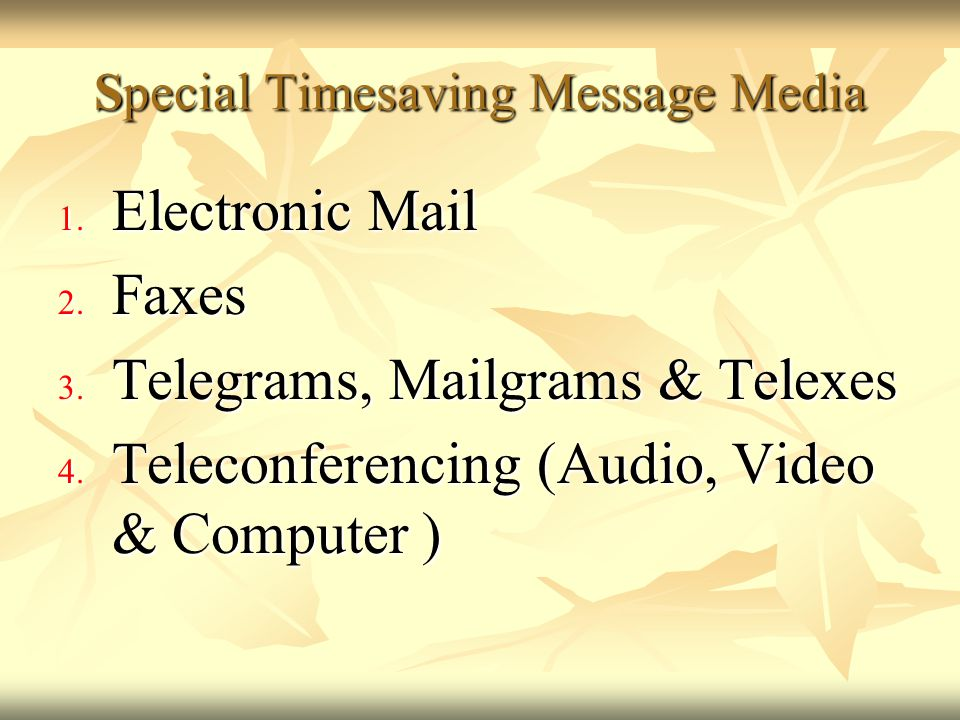 Special Timesaving Message Media
