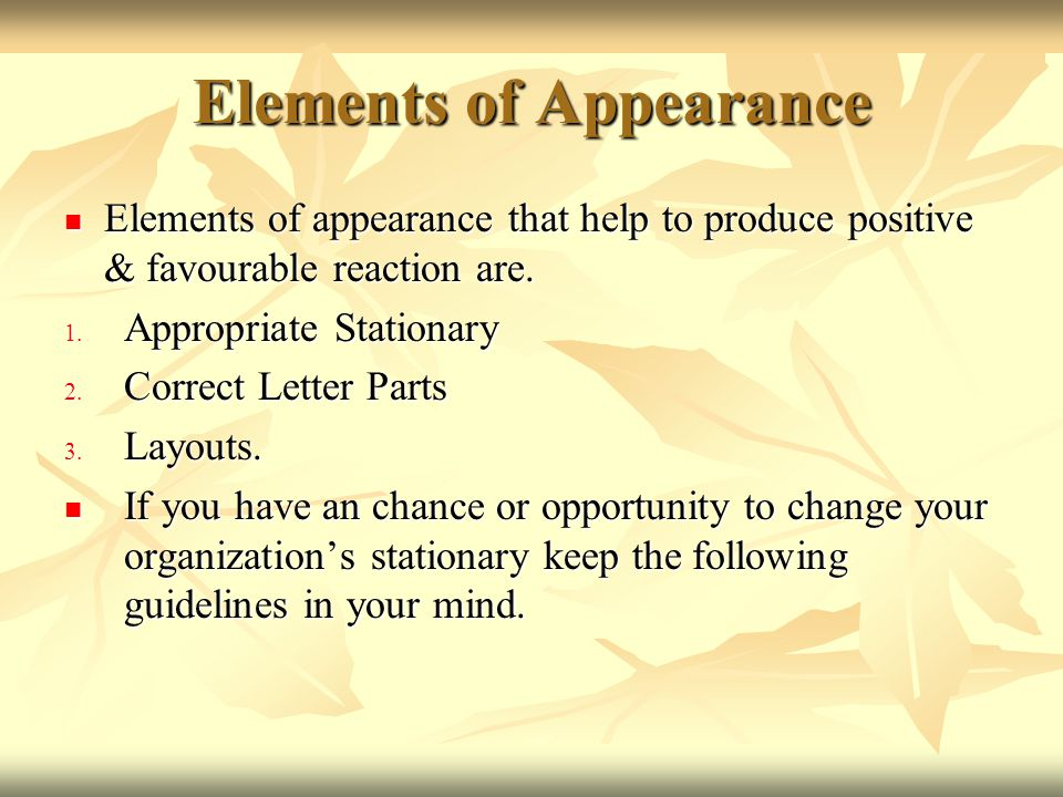 Elements of Appearance