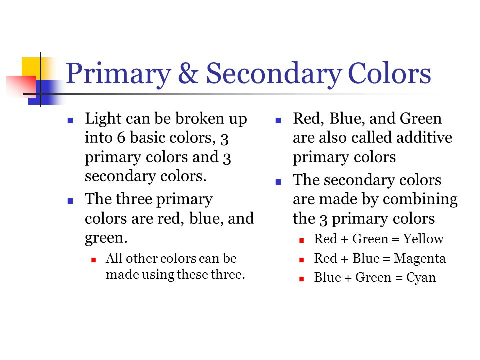 Primary & Secondary Colors