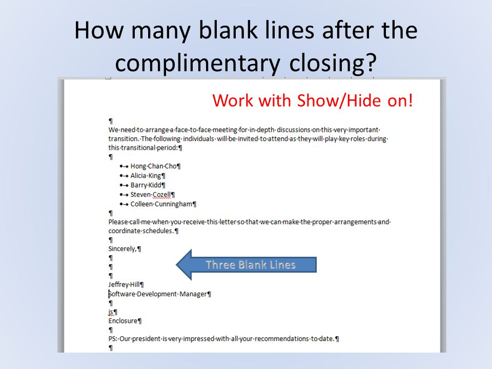 How many blank lines after the complimentary closing