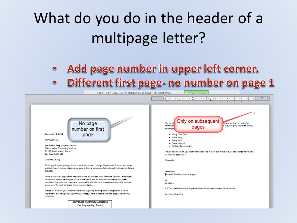 What do you do in the header of a multipage letter