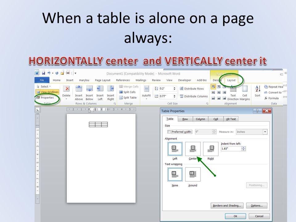 When a table is alone on a page always: