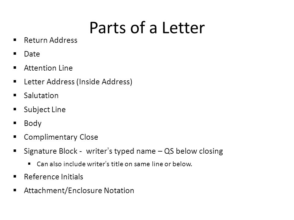 Parts of a Letter Return Address Date Attention Line