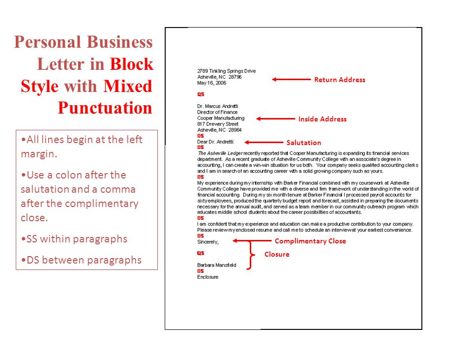 Personal Business Letter In Block Style With Mixed