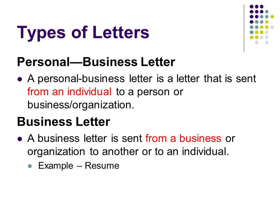 Types of Letters Personal—Business Letter Business Letter