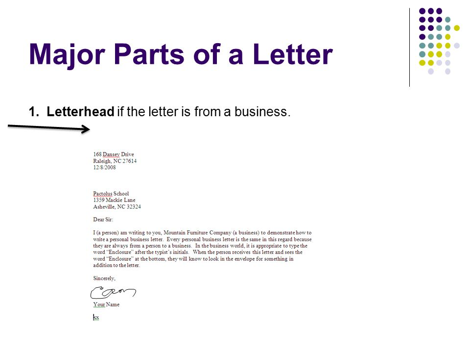 Major Parts of a Letter 1. Letterhead if the letter is from a business.