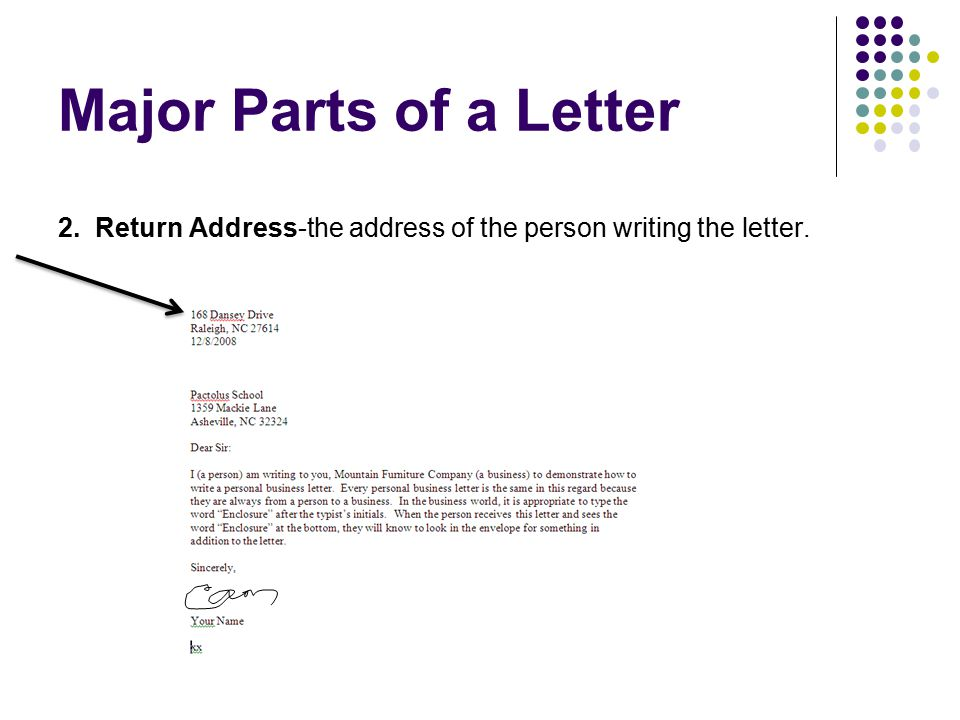 Major Parts of a Letter 2. Return Address-the address of the person writing the letter.