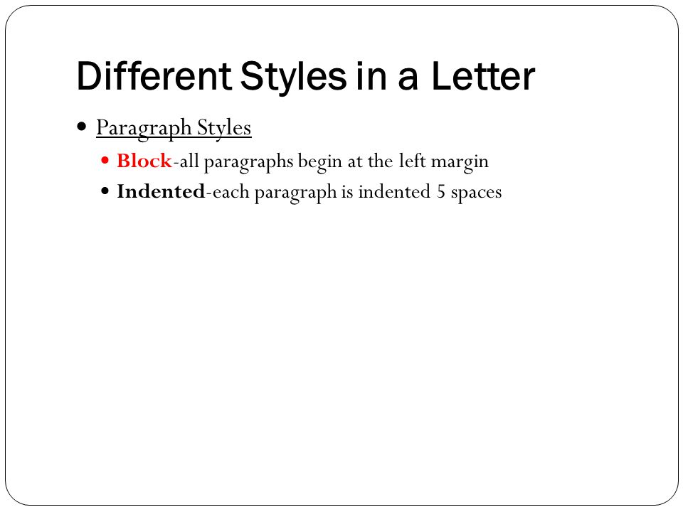Different Styles in a Letter