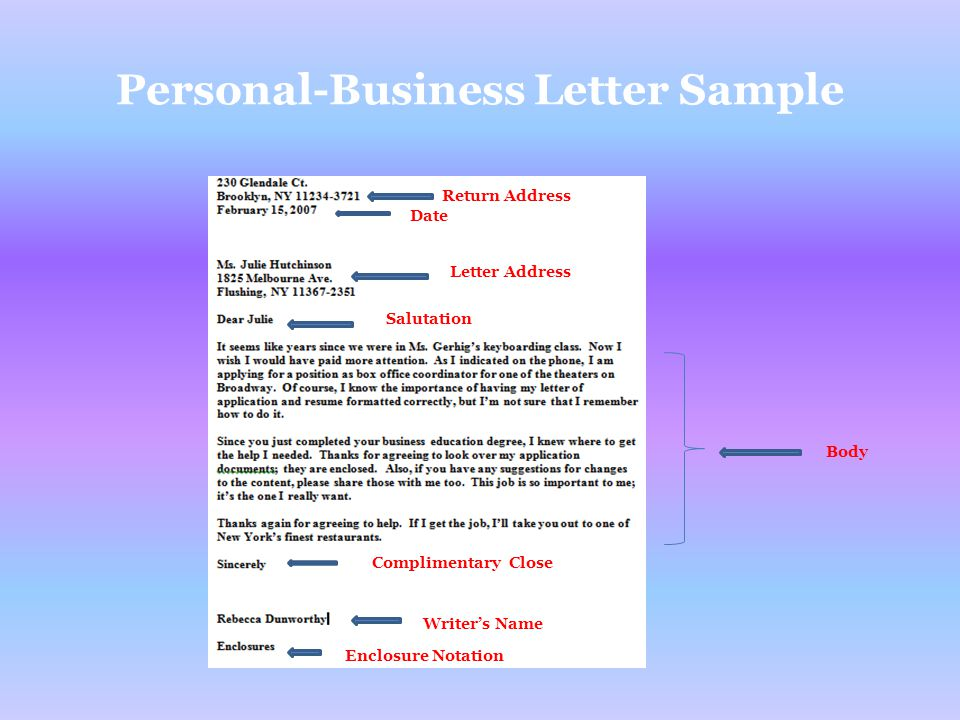 Personal-Business Letter Sample
