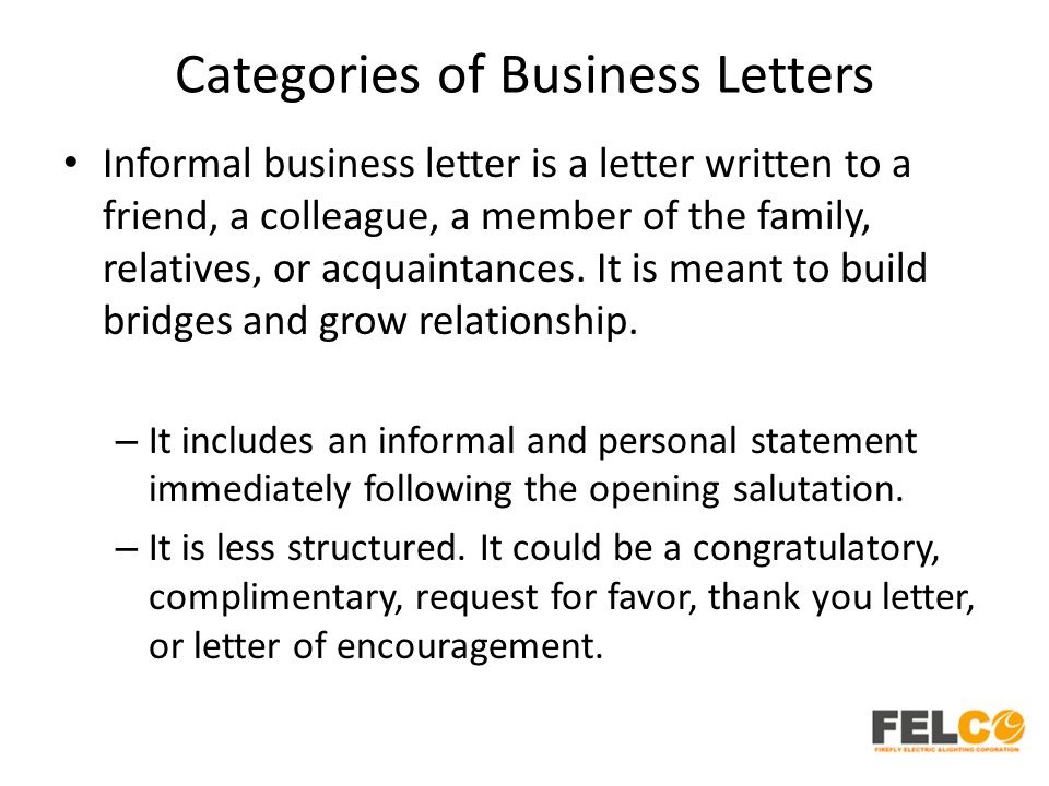 Categories of Business Letters