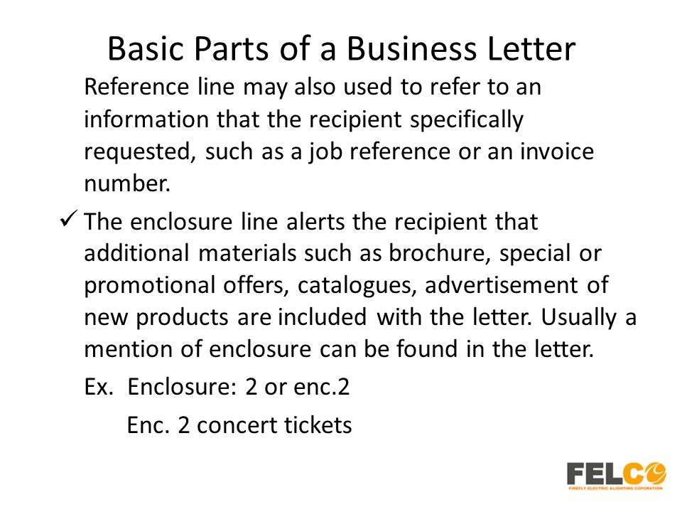 Basic Parts of a Business Letter