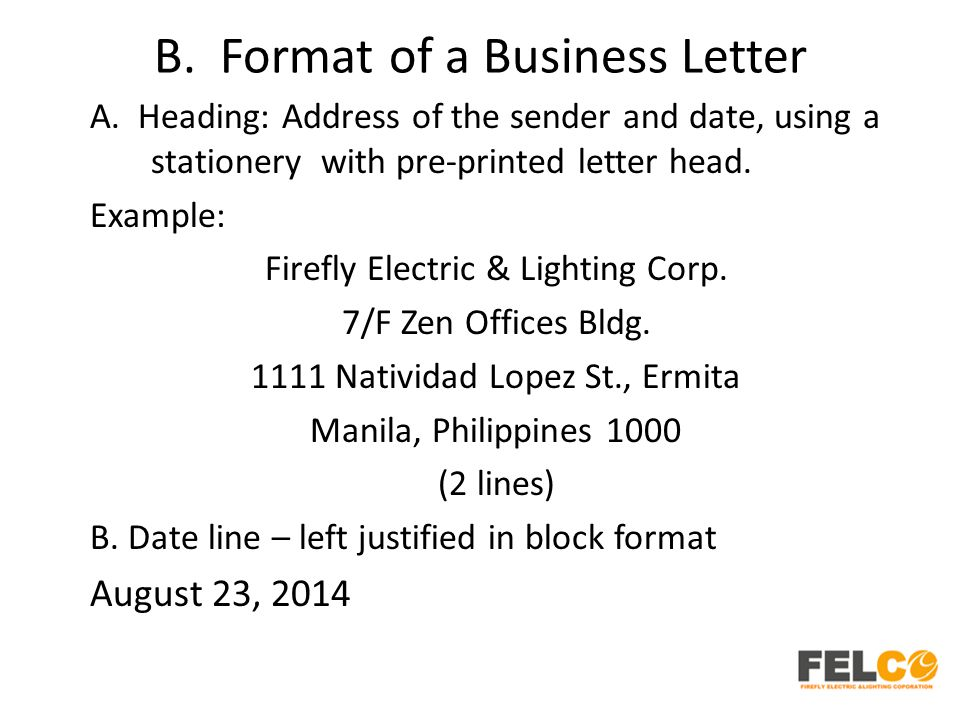 B. Format of a Business Letter