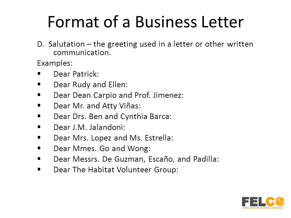 Lesson 2 business letters parts and formats ppt download format of a business letter spiritdancerdesigns Images