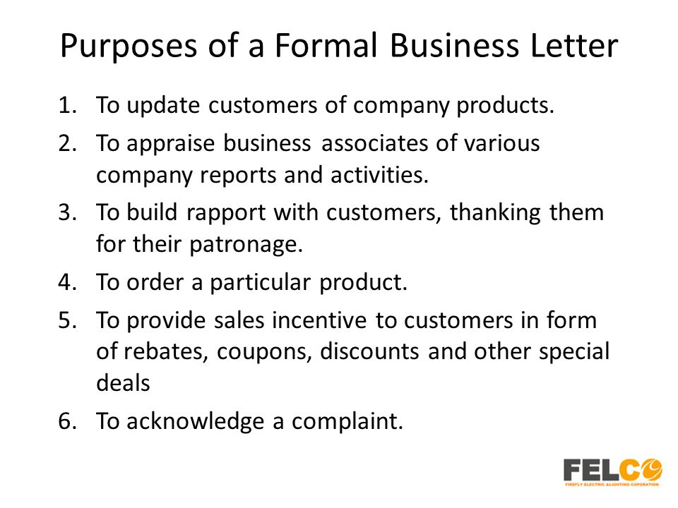 Purposes of a Formal Business Letter