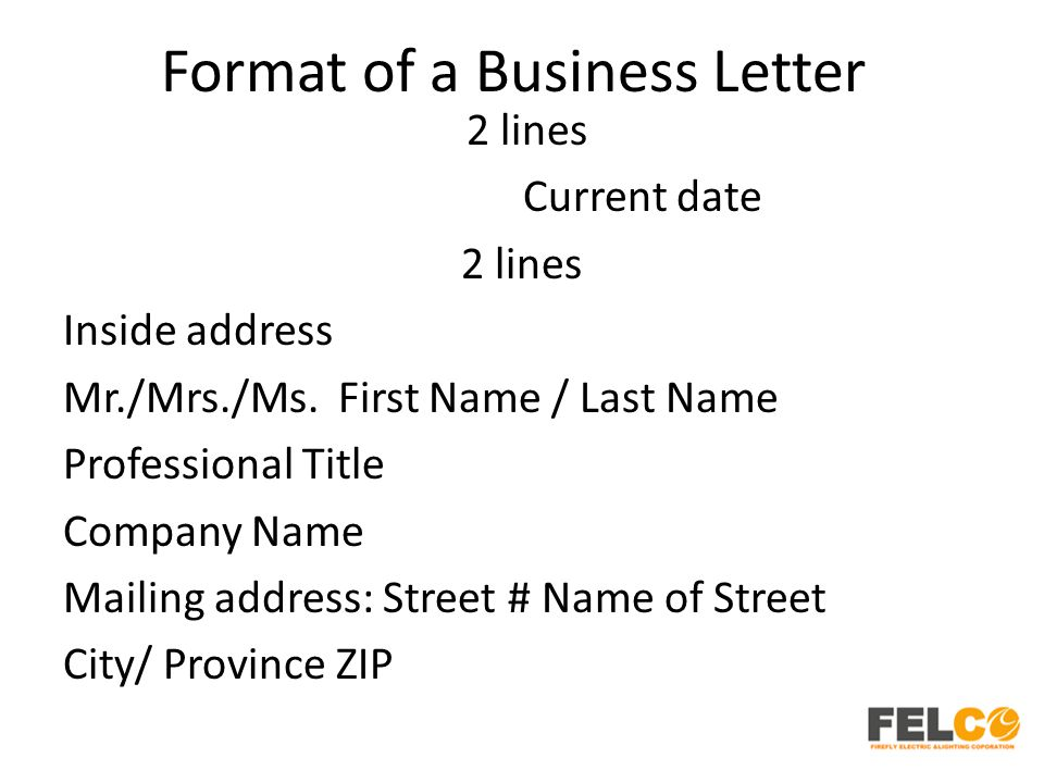 Format of a Business Letter