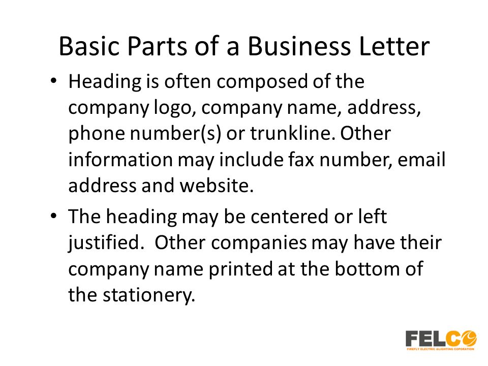 parts of a business letter Identify the standard parts of a business letter and other related terms.