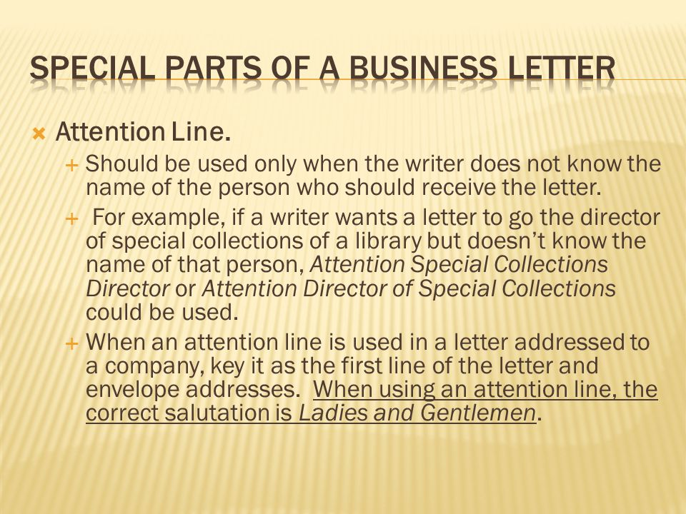 Special Parts of a business letter