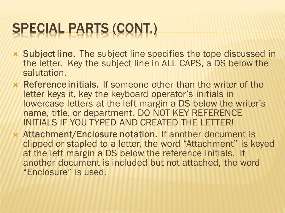 Special parts (CONT.)