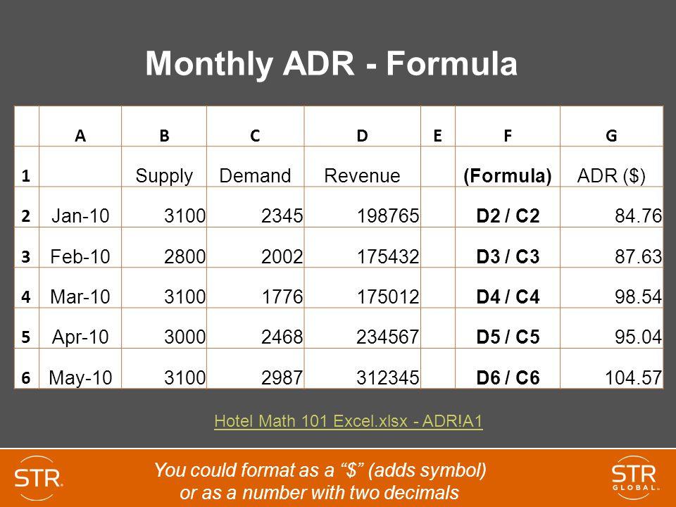 Monthly ADR - Formula A B C D E F G 1 Supply Demand Revenue (Formula)