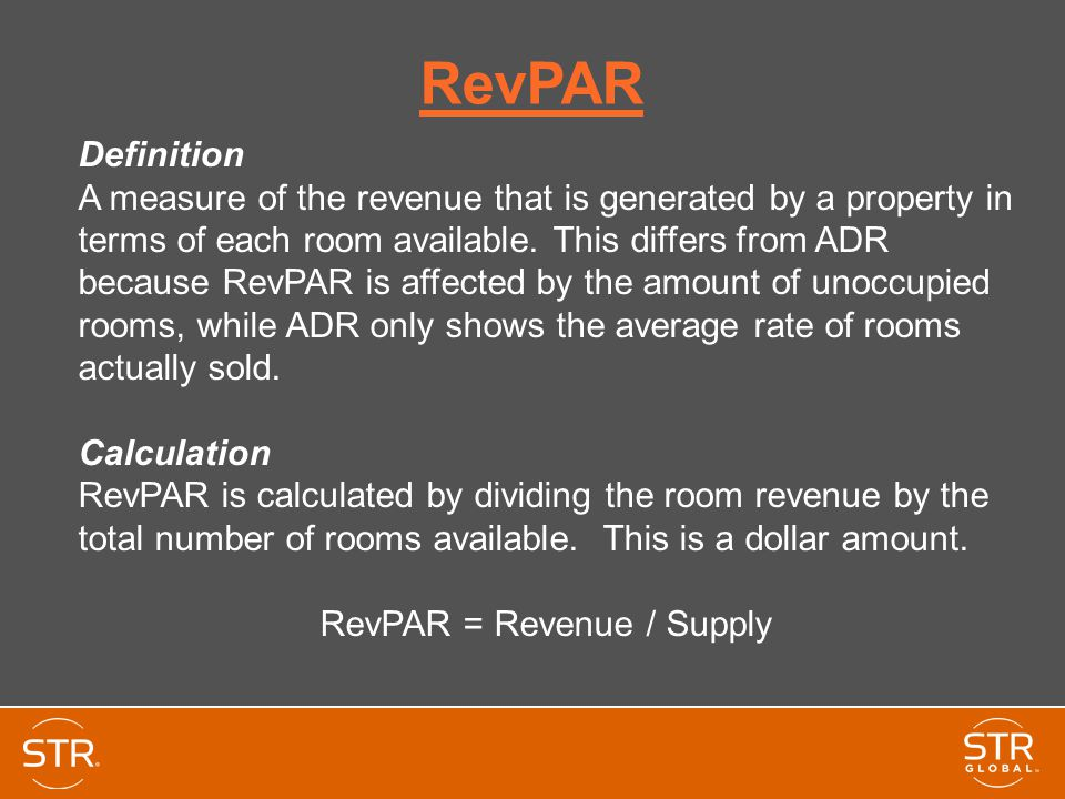 RevPAR = Revenue / Supply