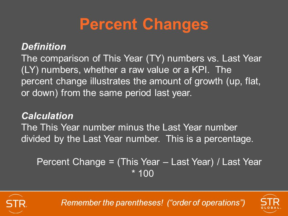 Percent Change = (This Year – Last Year) / Last Year * 100