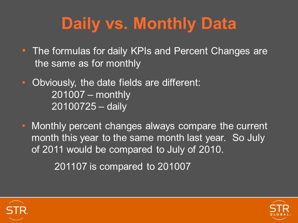 Daily vs. Monthly Data The formulas for daily KPIs and Percent Changes are the same as for monthly.