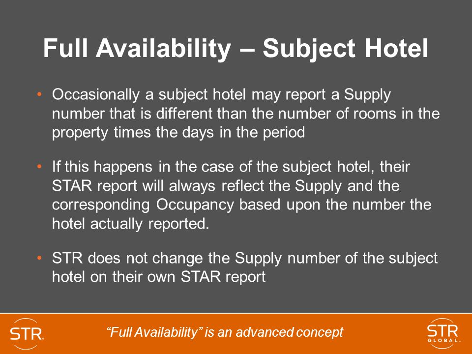 Full Availability – Subject Hotel