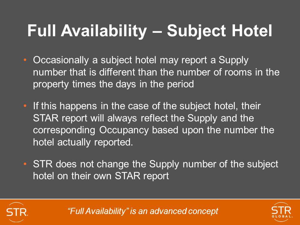 Full Availability – Subject Hotel