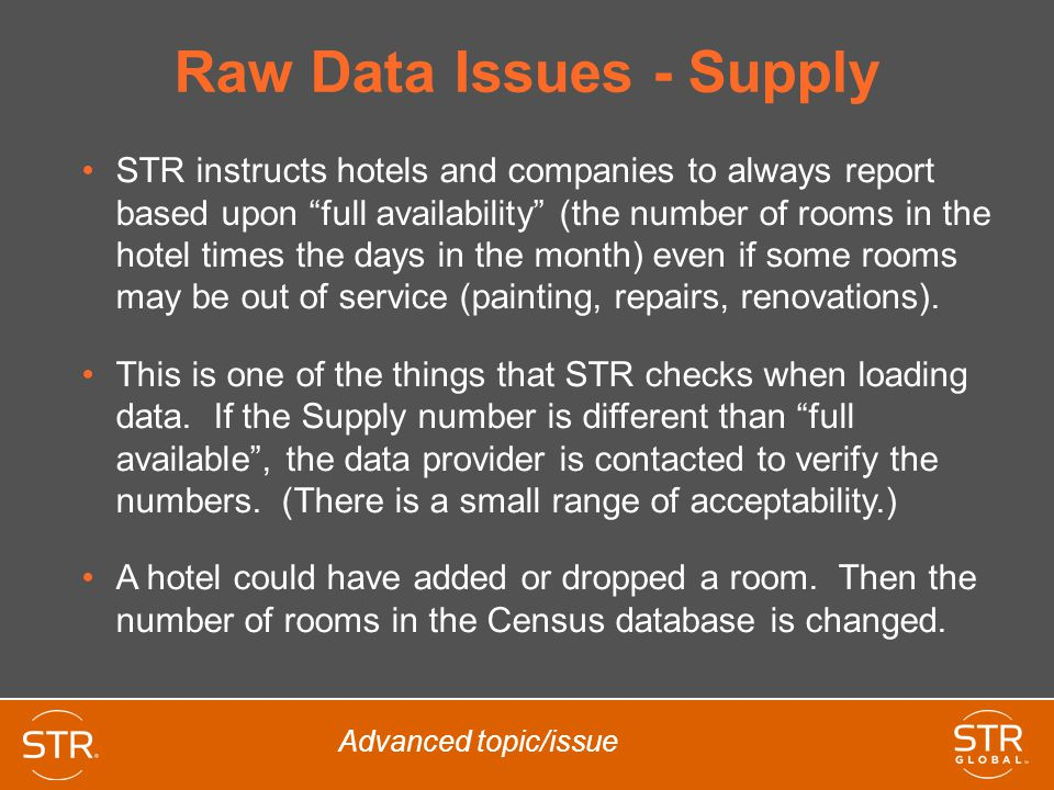 Raw Data Issues - Supply